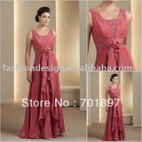 HLM00107 Lastest Fashion chiffon sleeveless mother of bride dress