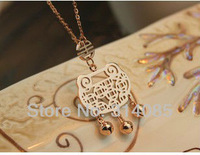 Titanium Steel small bell brand Pendant jewelry 2013 women chain necklace pendants N107