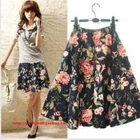 Free ship,lady/women Short skirt fashion plus size cotton bohemia flower bust skirts