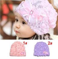 Princess baby hat flower!  Lace flower butterfly flower head cap for children 1-3 years 2 clor girl's summer sun hat