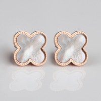 14k rose gold classic dream natural pearl shell lucky four leaf clover rose gold stud earring