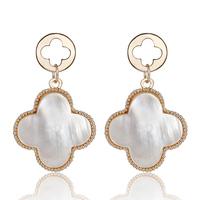 Green tea earrings dream cutout four-leaf flower pearl calabooses lucky four leaf clover stud earring female earrings