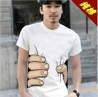 CHEER! 50PCS/LOT Fedex Free Shipping big Hand t shirt! Man Printing Hot 3D visual creative personality spoof grab your cotton