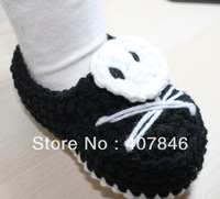 Baby crochet shoes skull loafers halloween first walker shoes 14pairs/lot  cotton yarn custom