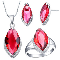 18K Gold Plated Rhinestone Austrian Crystal Jewelry Sets, Pendant + Earrings + Ring, Top Quality (T153)