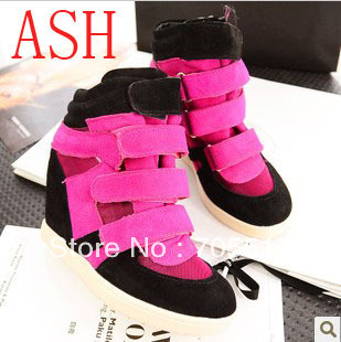 AShing shoes cowhide leather velcro elevator wedges high-top shoes women sneakers size 35-40 freeshipping