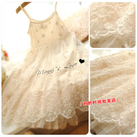 Free Shipping 2013 Small fresh princess fairy embroidery flower lace basic small vest tulle dress one-piece dress