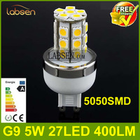 Wholesale - 2013 NEW G9 5W 400LM 27 Leds SMD 5050 360 Beam Angle LED BULBS 220-240V cool white warm white Free shipping FedEx