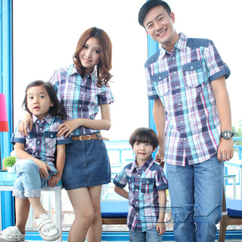 Excellent short-sleeve plaid shirt family pack denim short skirt clothes for mother and son family fashion f223