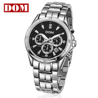 2013 Hot Sale Mens watch timep dom hot-selling waterproof male business stainless steel watch luminous watch Free shipping