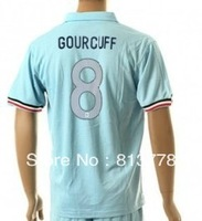 new  13 - 14France 8# GOURCUFF  T-SHIRT soccer jersey blue  2013-2014  season   jerseys cheap  hot sell good