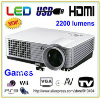 Cheapest 2013 brand new 2200lumens 640x480pixels portable HD LED projector,video game home theater projector with double HDMI