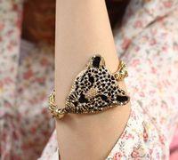 Sl054 Fashion Popular Exquisite Tassel Bracelet for Women Luxury 4.5cm Leopard Head with Rhinestone Bangles 28g Free Shipping