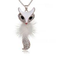 Trophonema Fox Pendant Long design Fluff Decoration Alloy Necklace Rhinestones Fashion Jewelry 16g Free Shipping NE119