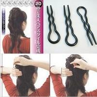 black U-shaped wavy hair styling tools interpolation fork   3479