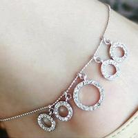 Circle anklets  cutout sparkling chain bracelet  1016