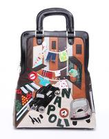 Braccialini 's same designer women's vintage handbag handbag PU preppy style casual bag town street brand NAPOLI gjcp