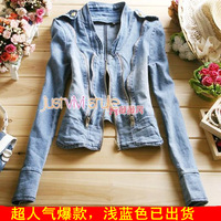 2013 spring and autumn women's stand collar zipper long-sleeve decoration elastic water wash short design denim outerwear