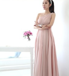 Aesthetic elegance one shoulder ultra long nude chiffon one-piece dress bridesmaid dress(China (Mainland))