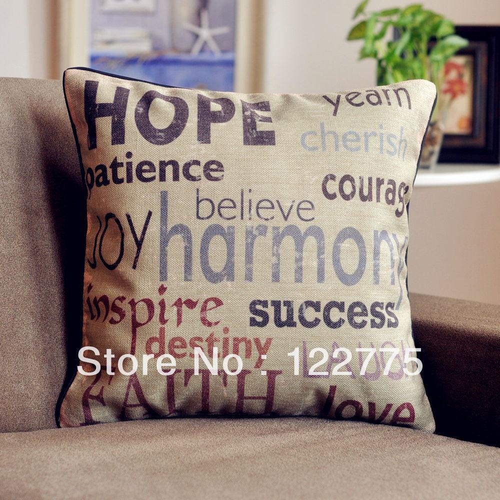 45x45cm Vintage HOPE HARMONY FAITH Linen Throw Pillow Case Cushion Cover Pillow Sham