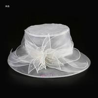 Double flower - luster white yarn big ihat fedoras 2013 big hat along organza women's