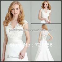 NWD-019 2013 New Arrival Custom Made Sexy Sheath Cap Sleeve Handmake Lace Applique Chiffon Wedding Dresses