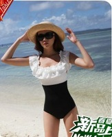 2013 Hot Swim Wear Women One piece swimwear plus size female sexy slim black and white ruffle hot spring swimsuit plus size