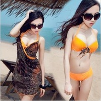 2013 Swimwear Plus size swimwear steel push up large cup size skirted bikini hot spring swimsuit cd cup