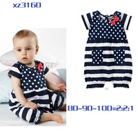 2014 fashion girl child polka dot blue and white stripe romper 100% cotton