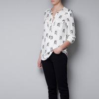 hot sale  fashion tiger print  chiffon blouses