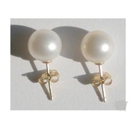 8-9MM White AAA Pearl 14k Earrings
