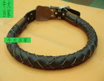 Cowhide dog ring large dog collar extra large collar tibetan mastiff collapsibility soft leather yo51