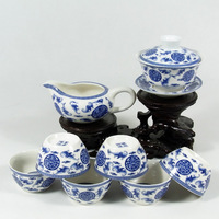 Blue and white porcelain tea set  Longevity bat tureen cup for Chinese kung fu tea, ceramic gaiwan Free shipping !