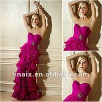 E0152 Strapless Sweetheart Fushia Ruffled Organza Long Evening Dress Patterns