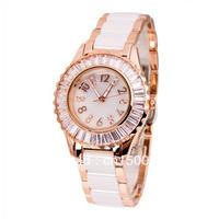 Ceramic White Gold Ladies Watch Fashion Vintage Rhinestone Bracelet Table Trend Wristwatches