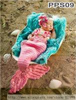 Pink Mermaid Tail Cocoon Set with Sleeping Bag and Headband Newborn Crochet Fish Bag for Photo prop