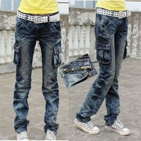 Cool personalized multi-pocket all-match denim overalls trousers female straight pants