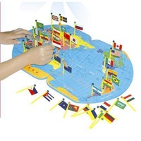Free shipping Wooden educational toys map of the world flag 1.0