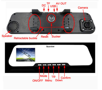 2.7-inch TFT-LCD HD 1080P H.264 Rearview Mirror Car DVR Video Recorder New Free shipping