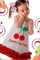 2014 New Children Girl's Summer Cute Cherry little dress dress baby wear size 80-120 wholesale  free shipping