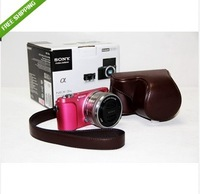 new  Brown Leather Camera Case Bag Cover For Sony NEX-3N NEX3N 16-50mm + Strap
