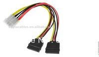SATA Power Splitter y Cable 4PIN MALE To 2X SATA Dual Female Power Adapter +Free Shipping+20pcs/lot