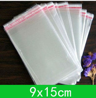 New Cellophane Bag (9x15cm) with self-adhesive seal opp bag /poly bag  for wholesale + free shipping double