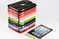 Wholesale Free shipping by DHL 13 colors 360 Degree Rotary Leather Case Cover for ipad Mini