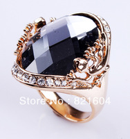 Hot ! Fashion  Gold Big  Black Stone Rings For  Party  Jewelry  WNR240