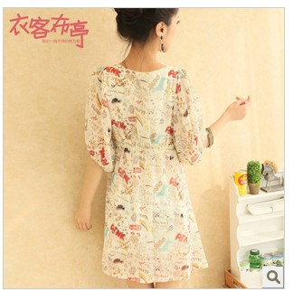 Free shipping 2013 summer new Korean high waist round neck lantern sleeve graffiti chiffon dress child