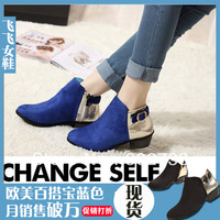 New arrival fashion all-match navy blue pointed toe buckle patent leather velvet boots ankle boots female boots