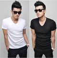 Men Tshirt 2013 Slim V-neck Short-Sleeve T-shirt Men&#39;s basic Cotton Shirt dress