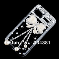 Handmade Pearl Bow Bowknot Bling Diamond Hard Back Case Cover For HTC Radar 4G TMobile Phone