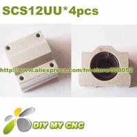 Free Shipping 4pcs x SMA12UU SC12UU SCS12UU 12mm Linear Ball Bearing Pellow Bolck Linear unit for CNC